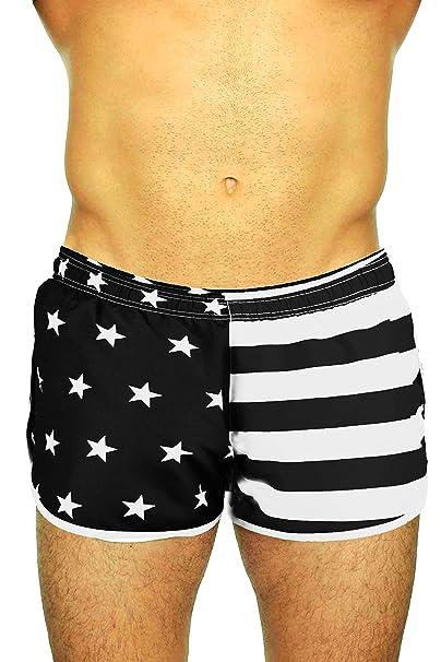 db5bbe24bf UZZI Men's Side Split Running Shorts 1830AF, Flag Black/White, X-Small