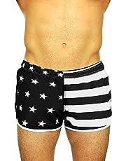 2cb2802d8303a UZZI Men's American Flag and Nylon Swimwear Running Shorts