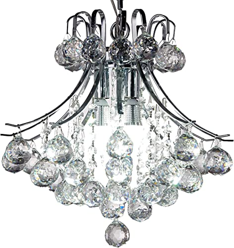 New Legend Lighting Modern Style Chrome Finish 4-Light Pedant Crystal Chandelier Hanging Light Fixture W16