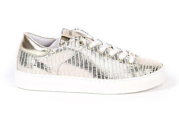 LIU JO Italienische Leder Sommer Schnürhalbschuhe/Sneaker gold mit weiß.  Gr. 39/40, incl. Schuhputztuch - Modell fällt groß aus - bitte dringend ...