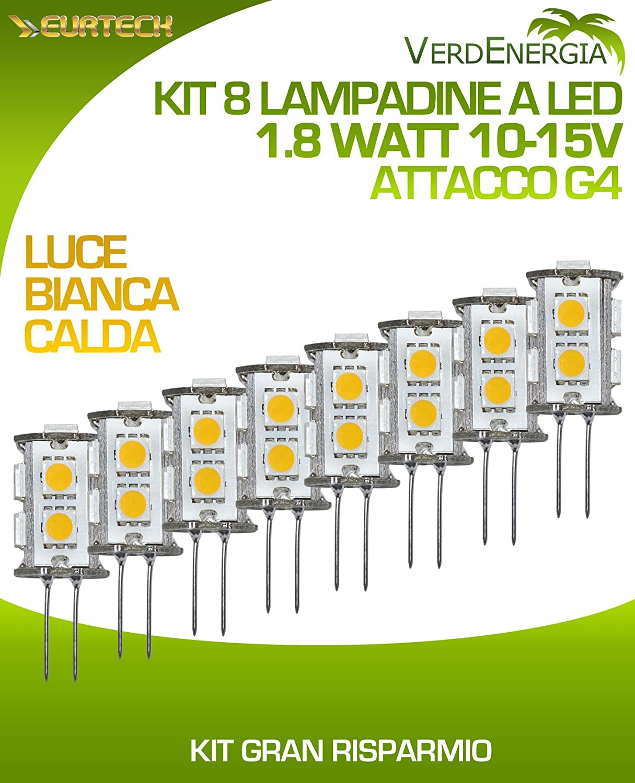Kit 8 Leuchtmittel LED 1.8 W 10 – 15 V 3000 K Warmweiß G4 9SMD 5050 108LM 9 LED