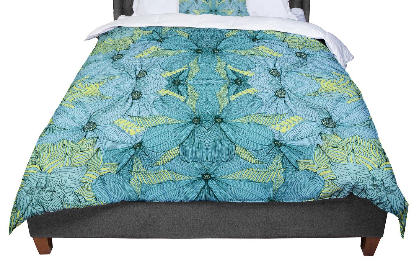KESS InHouse Akwaflorell Blues in Blue Queen Comforter 88 X 88