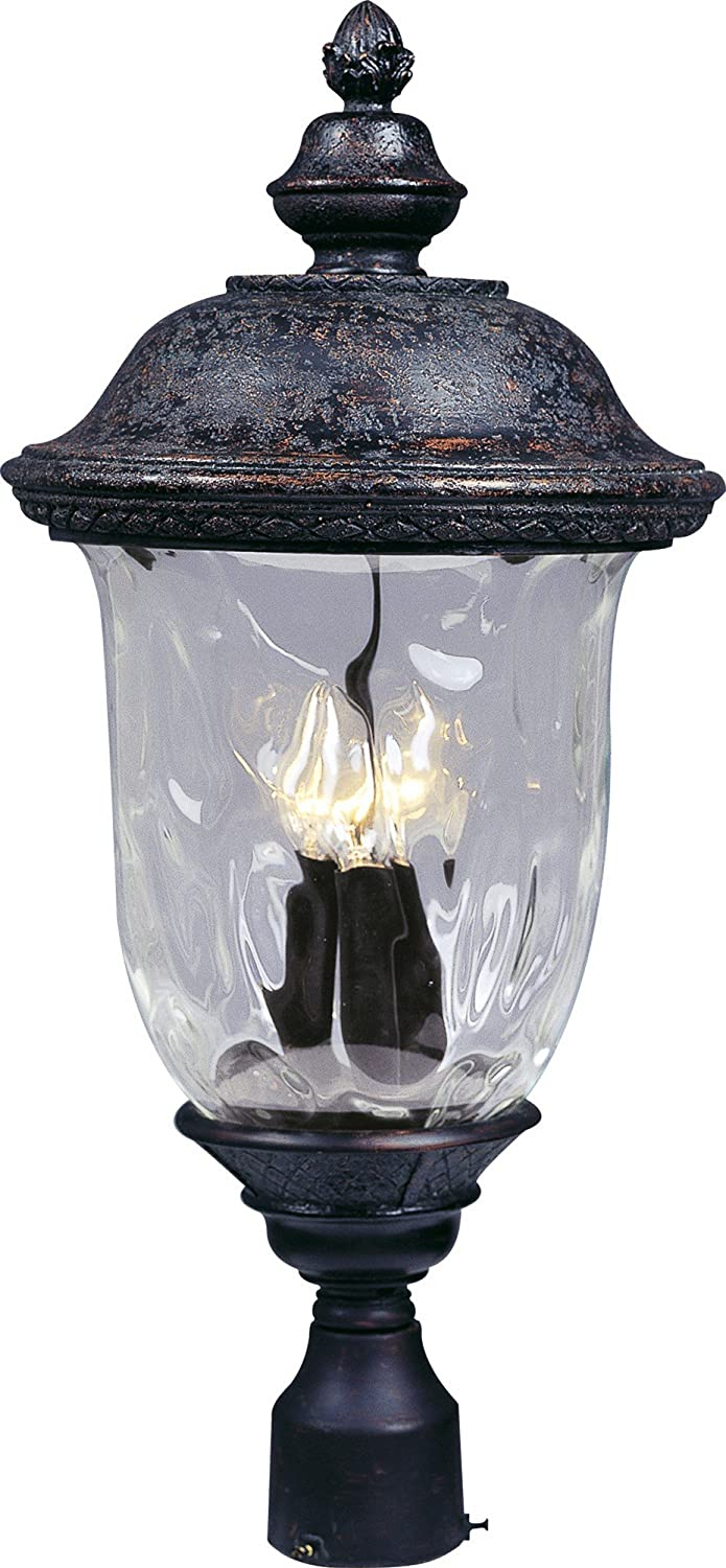 Maxim 3420WGOB Carriage House DC 3-LT Outdoor Pole/Post Lantern, Oriental Bronze Finish, Water Glass Glass, CA Incandescent Incandescent Bulb , 60W Max., Damp Safety Rating, Standard Dimmable, Frosted Glass Shade Material, Rated Lumens