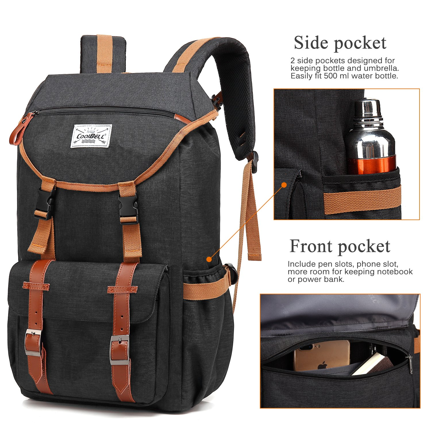 Travel Backpack CoolBELL 17.3 Inches Laptop Backpack Leisure Outdoor Rucksack Hiking Knapsack School Daypack Multi-functional Business Bag For School/College/Men/Women (38L, Black) by CoolBELL (Image #3)