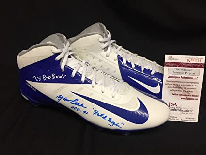 "11ef4a360 Y.A. Tittle Signed Nike Football Cleats""HOF 71/Bald Eagle/7x Pro  Bowl"""