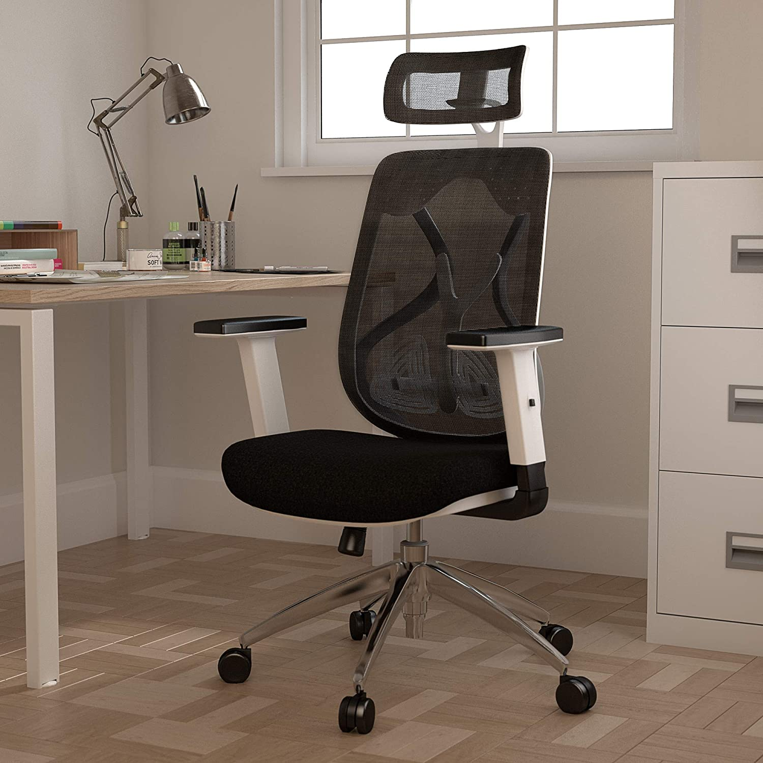 Office Hippo Ergonomic Chair Office, White Office Chair with Back Support, Desk Chair for Home Office Computer Chair, Mesh, Swivel