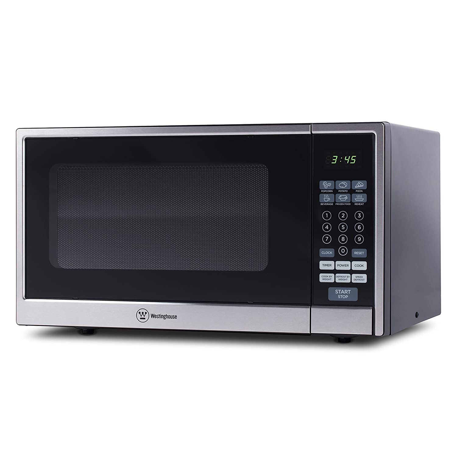 Westinghouse, WCM11100SS, Countertop Microwave Oven, 1000 Watt, 1.1 Cubic Feet, Stainless Steel Front, Black Cabinet, Small