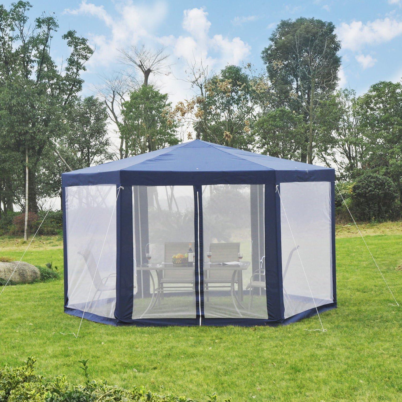 Outsunny Pavillon Gartenpavillon Partyzelt Gartenzelt Festzelt Zelt 6-eckig 390x390x250cm Polyester+Metall Creme Blau//Creme