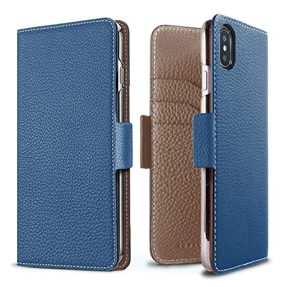 premium selection b581e 81718 BONAVENTURA Leather Wallet Case w/Magnet Lock [Compatible iPhone 8/7 | Blue  & Taupe]