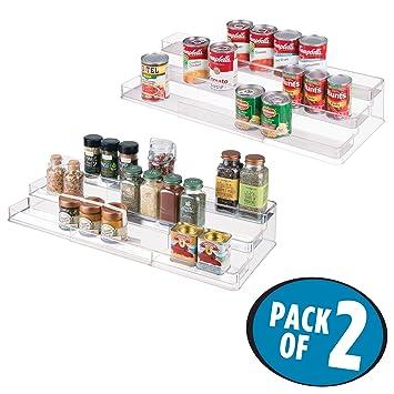 mDesign 2er-Set Gewürzregal für Küchenschrank – ausziehbare ...