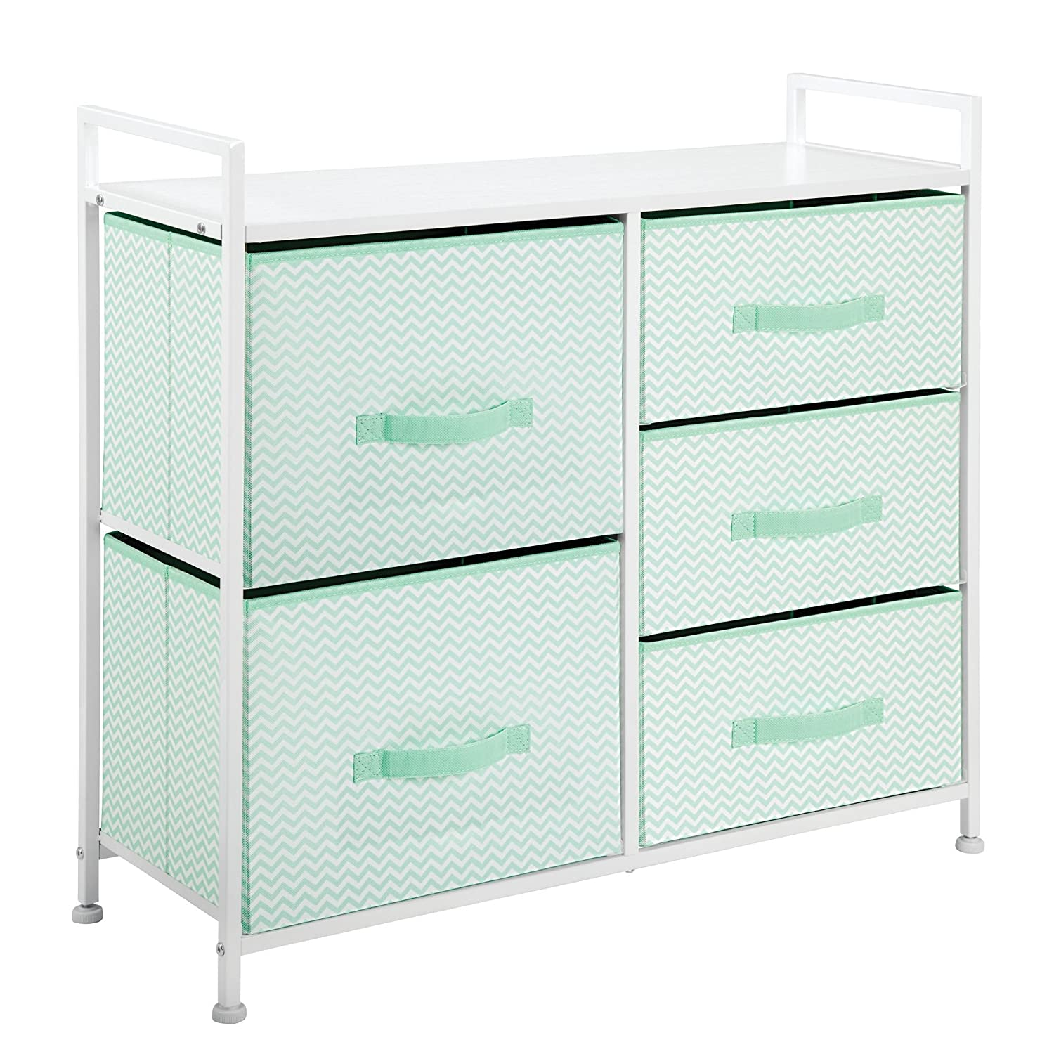 Mint//White Dorm Room mDesign Fabric Narrow 4-Drawer Dresser and Storage Organizer Unit for Bedroom Laundry Room