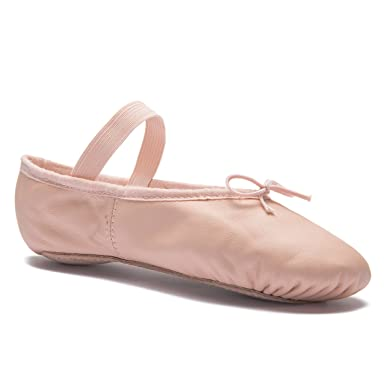 3bc7737d6ba pink leather ballet shoes elastic on wide fit  Amazon.co.uk  Shoes ...