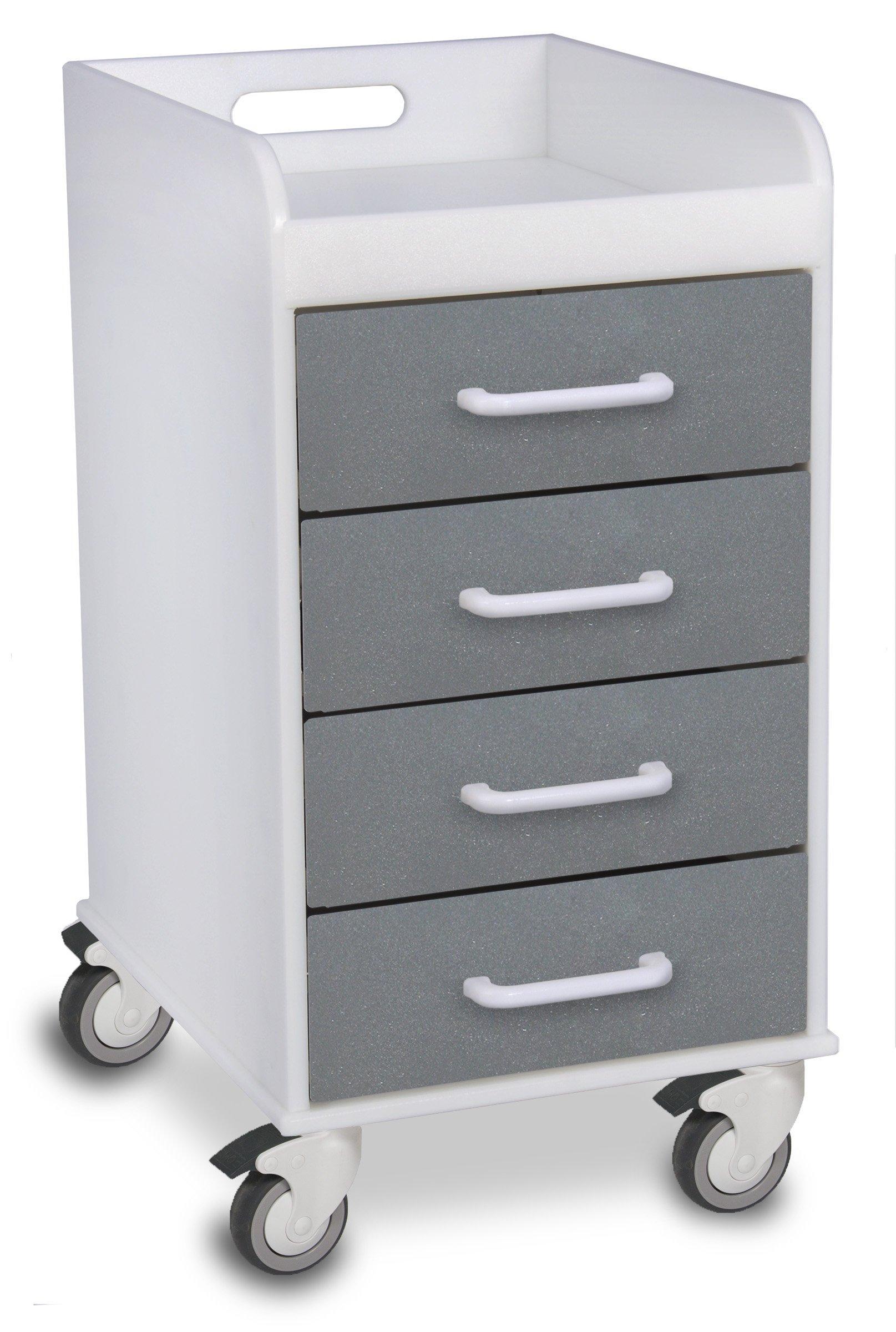 TrippNT 51088 Polyethylene Compact Locking Cart, 14'' Width x 27'' Height x 19'' Depth, 4 Drawers, Silver Metallic