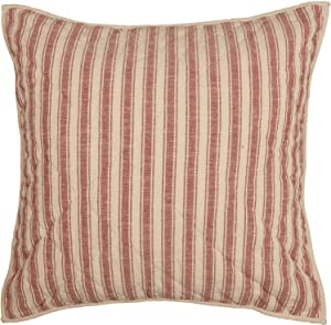 """Piper Classics Market Place Red Ticking Stripe Quilted Euro Sham Pillow Cover, 26"""" x 26"""", Farmhouse Style Red & Cream Bedding"""
