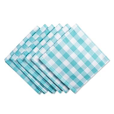 DII 100% Cotton, Oversized Basic Everyday 20x20  Napkin Set of 6, Aqua & White Check