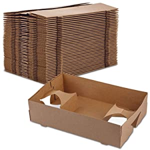 4 Corner Pop-Up Paperboard Food and Drink Tray Perfect for Holding Food and Liquids in One Place at Stadium or Theater by MT Products (40 Pieces)