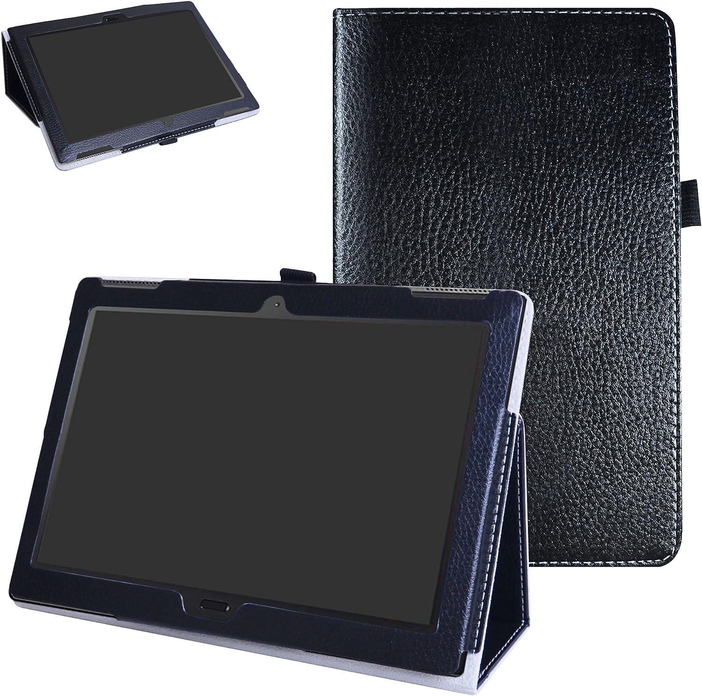 "MAMA MOUTH Lenovo Moto tab X704A Case, PU Leather Folio 2-Folding Stand Cover with Stylus Holder for 10.1"" Lenovo Moto tab X704A / Lenovo Tab 4 10 Plus Tablet,Black"