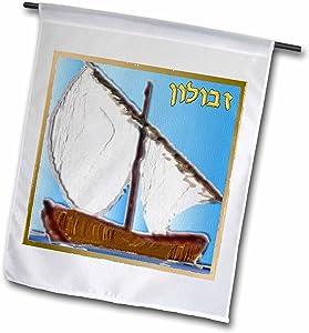 3dRose Lee Hiller Designs Judaica - 12 Tribes of Israel Art Print Zebulun - 18 x 27 inch Garden Flag (fl_107267_2)