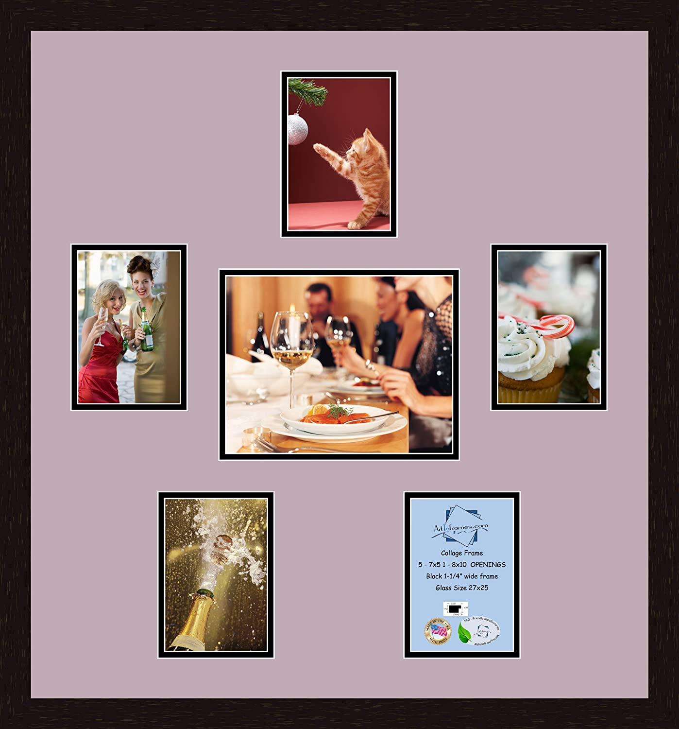 Art to Frames Double-Multimat-198-825//89-FRBW26061 Collage Frame Photo Mat Double Mat with 1-8x10 and 1-4x6 Openings and Espresso frame