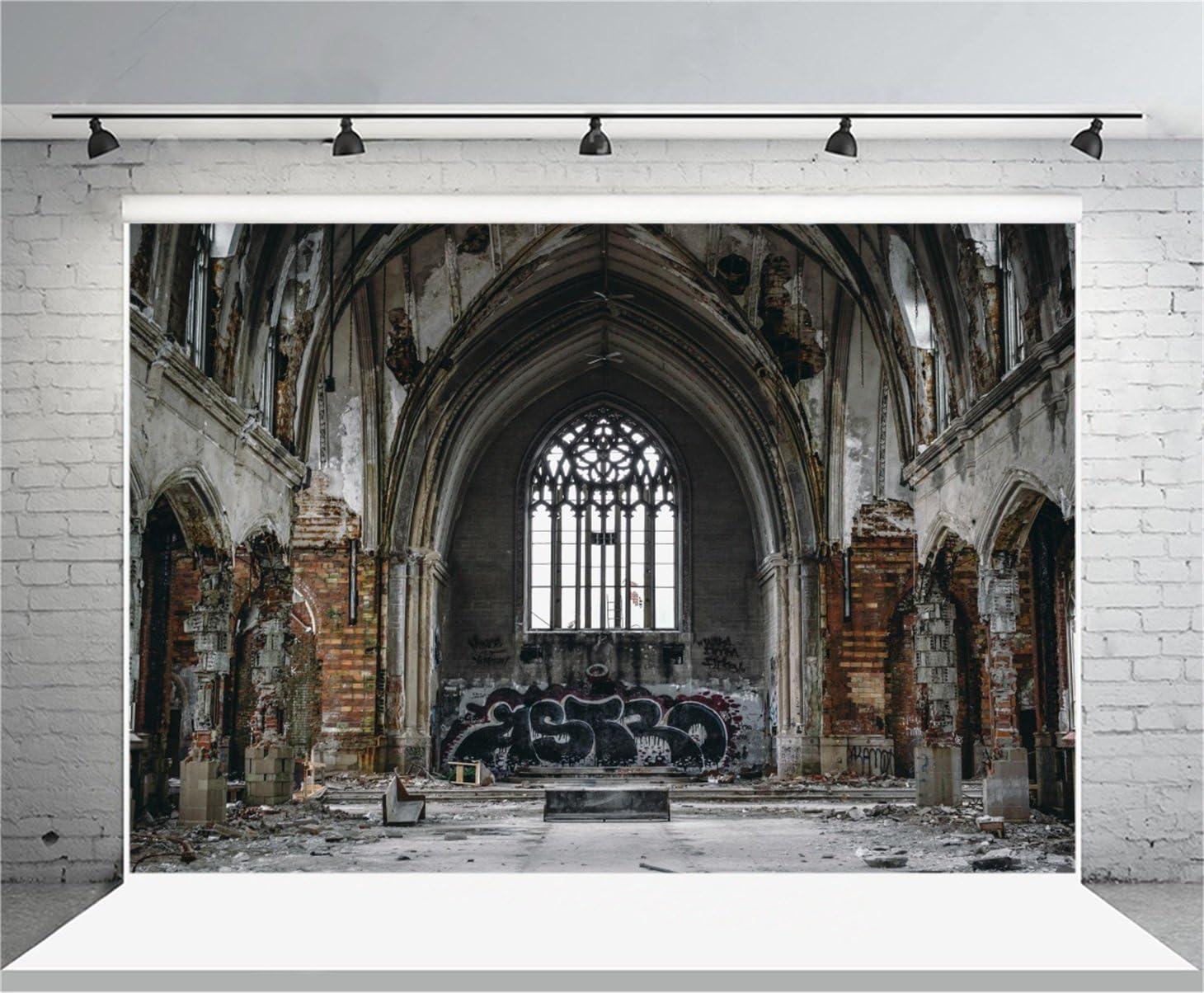 GoEoo 7x5ft Collegiate Church Backdrop European Historic Building Photography Background Ruins Grunge Door Wedding Shooting Backdrop Children Adults Portraits Photo Studio