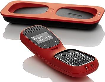 Telefunken TD 101 Colombo - Teléfono inalámbrico, 100 entradas, color rojo
