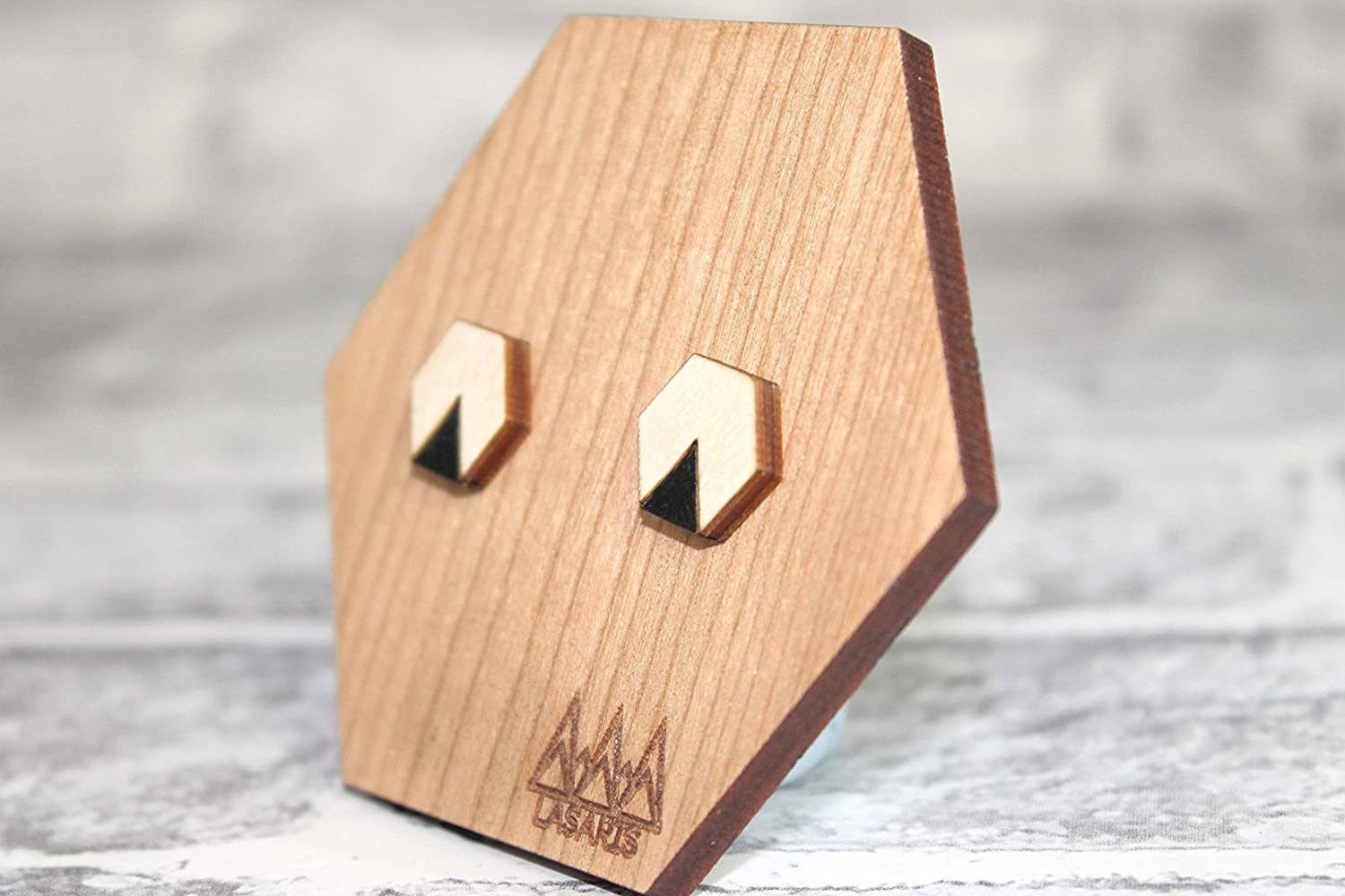 Eco Friendly and Sustainable Wooden Laser Cut Geometric Jewellery Hexagon Stud Earrings With Coloured Triangles