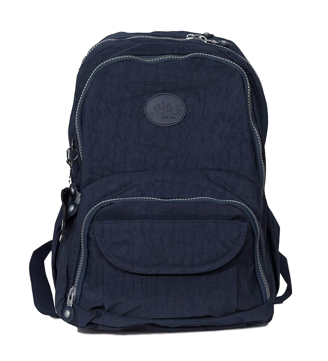 LITTLE AIDEN Medium Size Travel Nylon Casual Daypack School Backpack with Small Laptop Tablet Compartment and Trolley Strap Sleeve for Travel for Men and Women Navy Blue