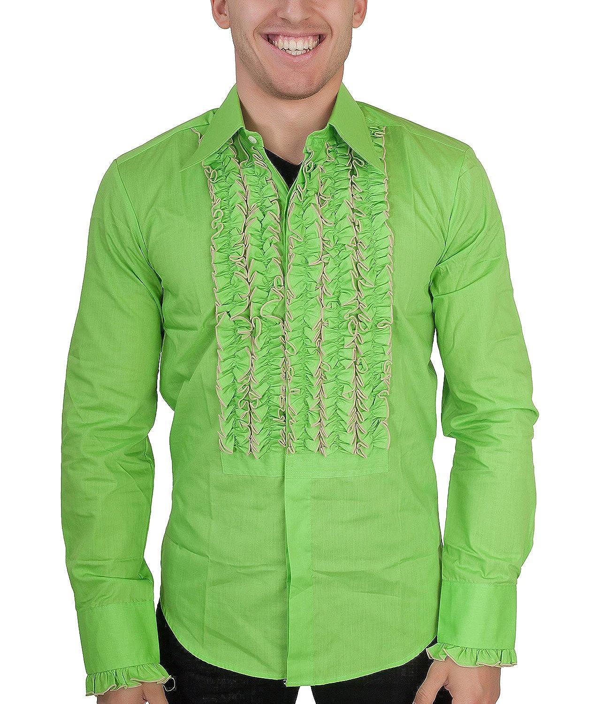 Chenaski 70er Jahre Kleidung Ruschenhemd Herren Pistazie 1541601458