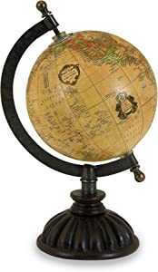 IMAX 5490 Colony Globe - World Globe Map, Globe Stand with Nickel Finish Base, Metallic Globe. Home Decor Accents