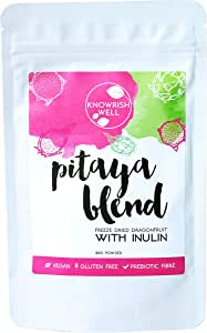 Knowrish Well Pitaya Blend 80g - Vegan, Gluten Free, Freeze Dried Dragonfruit with Inulin, Prebiotic Fibre, No Colours, Preservatives or Flavours, 32 serves