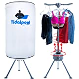 Electric Portable Clothes Dryer - Laundry Drying Rack with High Powered 1200W Heater and Germ Killing UV Light Sanitation - Compact with 22Lb Capacity - Tidalpool