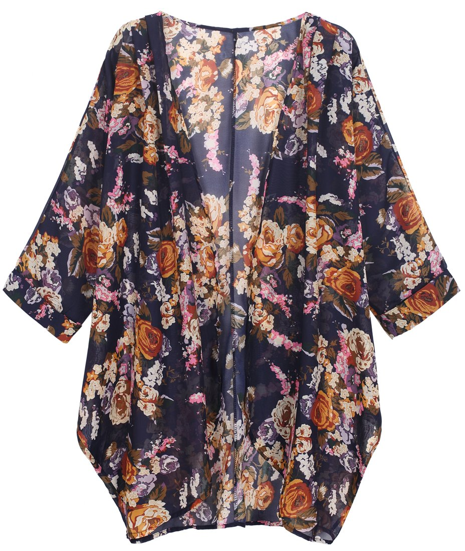 OLRAIN Women's Floral Print Sheer Chiffon Loose Kimono Cardigan Capes (Small, Yellow-1)