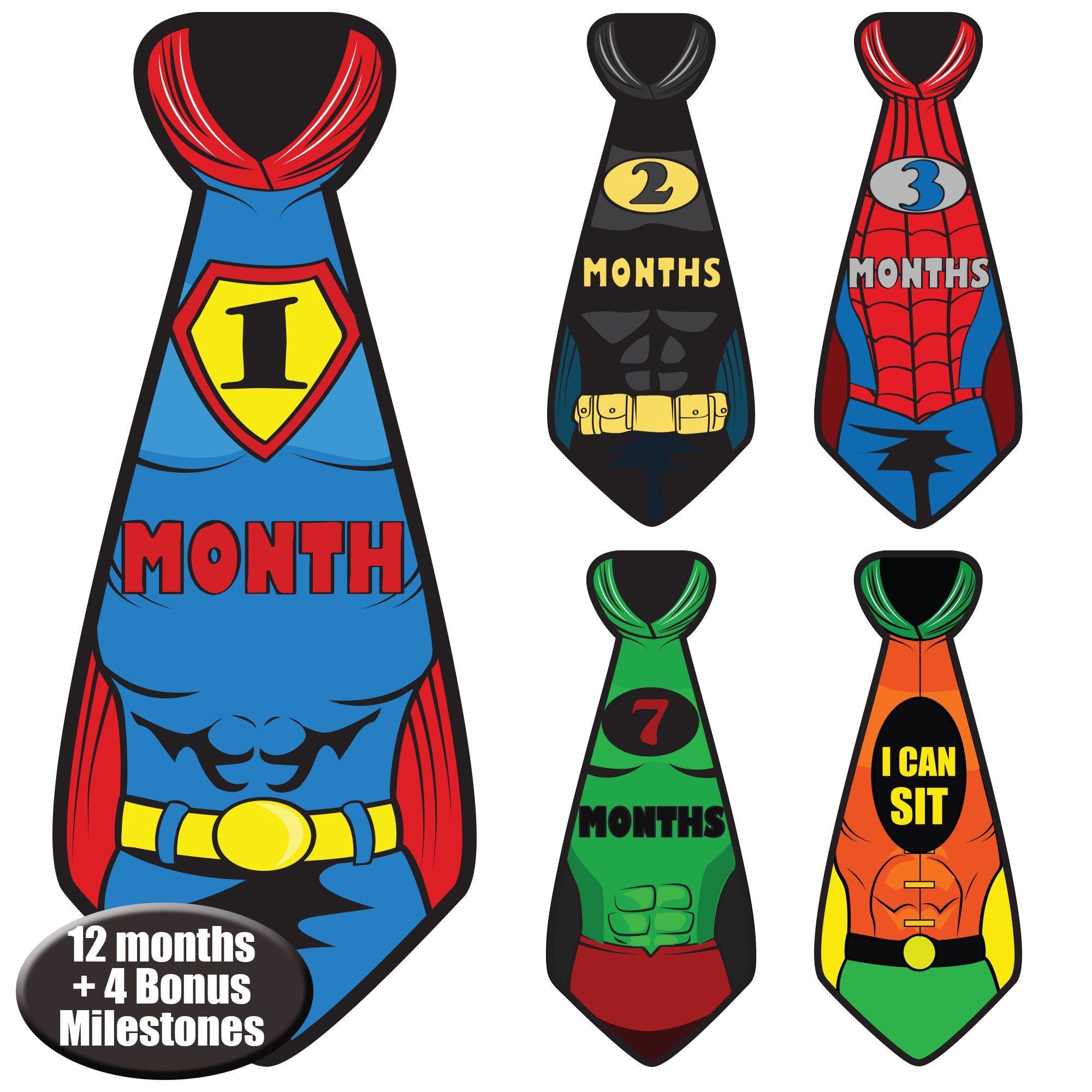 Newborn Baby Monthly Superhero Stickers - Great Shower Registry Gift or Scrapbook Photo Keepsake