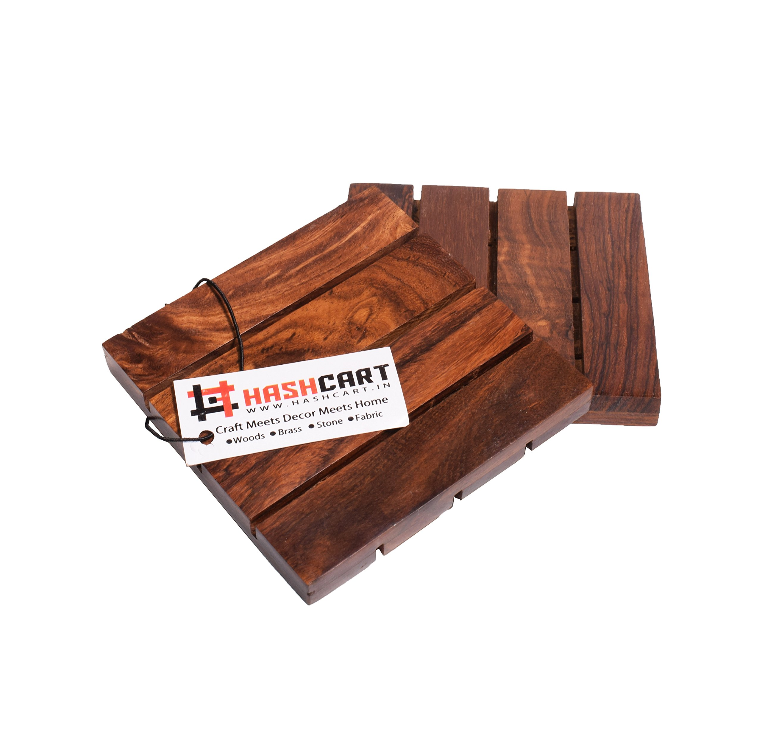 Hashcart Coasters for Drinks-Hot & Cold/Wooden Coaster Sets/Dining, Tea & Coffee Table Decorative Cocktail Coasters in Sheesham Wood | 4x4 inch | Set of 2 by Hashcart (Image #4)