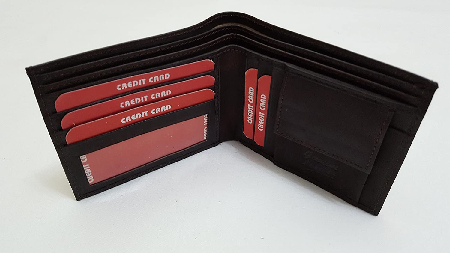 MEN Two Fold Black Leather Wallet - Leather Inner