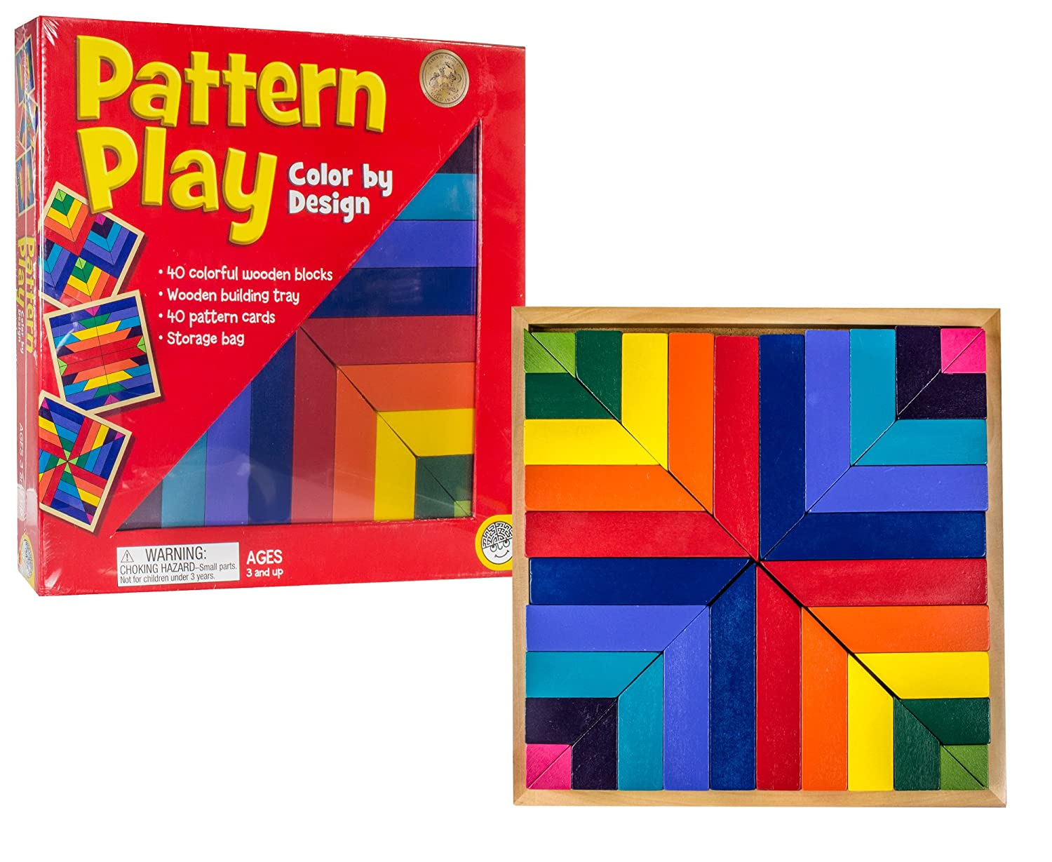 Amazon.com: MindWare Pattern Play 40 colored block replication game ...