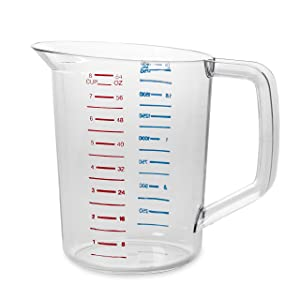 Rubbermaid Commercial Bouncer Measuring Cup, 2-Quart, Clear, FG321700CLR