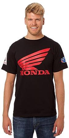 48b0ad51c2d JH Design Honda Logo T-Shirt with American Flag Sticker Black Crewneck T- Shirt
