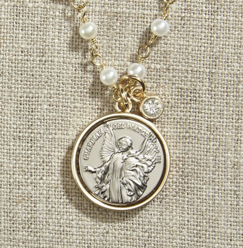 Set of 3 Vintage Blessings II Guardian Angel Necklace on Pearl Chain with by AT001