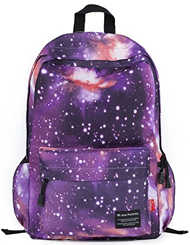 Besporter Galaxy Pattern Unisex School Travel Laptop Backpack in Purple
