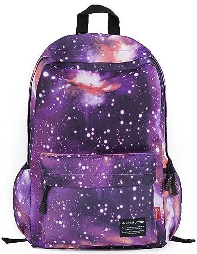 Besporter Galaxy Pattern Unisex School Travel Laptop Backpack in Purple