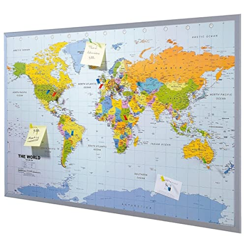 World map poster with country flags magnetic notice board silver pinboard map of the world 90 x 60 cm includes 12 flag pins english gumiabroncs Choice Image