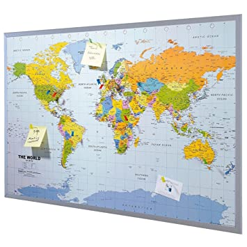 Pinboard map of the world 90 x 60 cm includes 12 flag pins pinboard map of the world 90 x 60 cm includes 12 flag pins english amazon kitchen home gumiabroncs Images