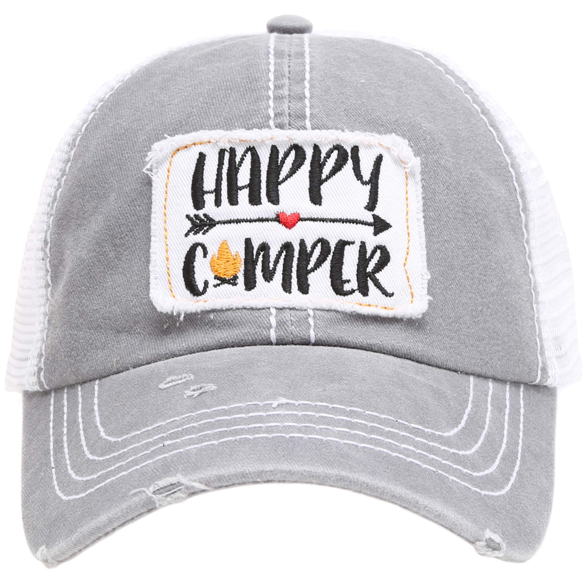MIRMARU Women's Baseball Caps Distressed Vintage Patch Washed Cotton Low Profile Embroidered Mesh Snapback Trucker Hat (Happy Camper, Grey)