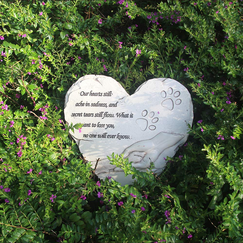 Hand-Printed Heart-Shaped Personalized Loss of Pet Gifts Dog with Sympathy Poem and Paw in Hand Design, White jinhuoba New York Dog Memorial Stone