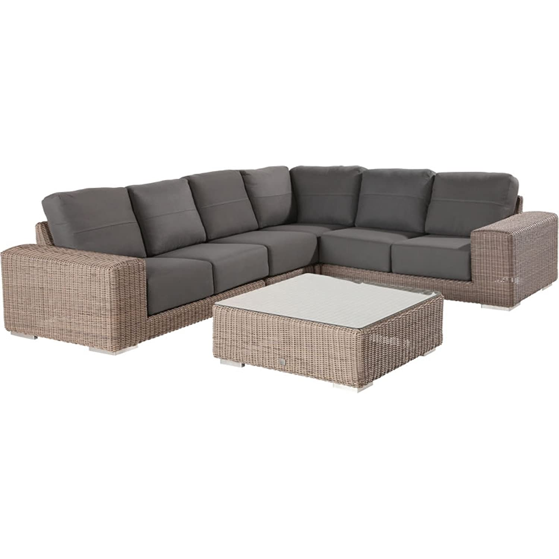 4Seasons Outdoor Kingston 5-teilige Sitzgruppe mit Tisch Polyrattan Pure