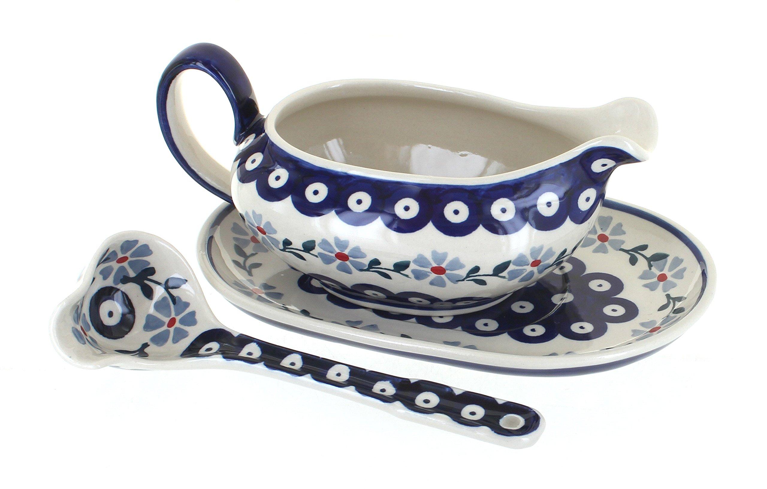 Blue Rose Polish Pottery Blue Violet Gravy Boat & Ladle
