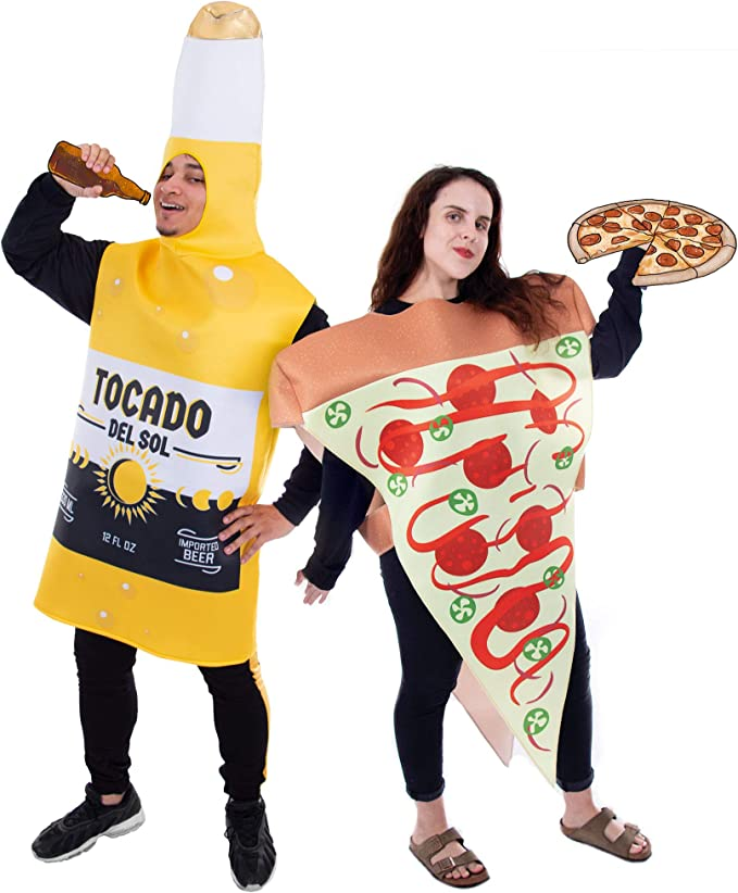 Pizza Slice and Beer Bottle Couple's Halloween Costume | Funny Food