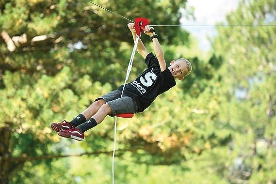 Slackers Zipline Eagle 30 m de Largo, Tirolina, Riel de Mano Sólido en Metal en Caja de Plástico, Cable de Acero Robusto de Ø5 mm, Incl. Columpio, para Jardín y Parque, 980005:
