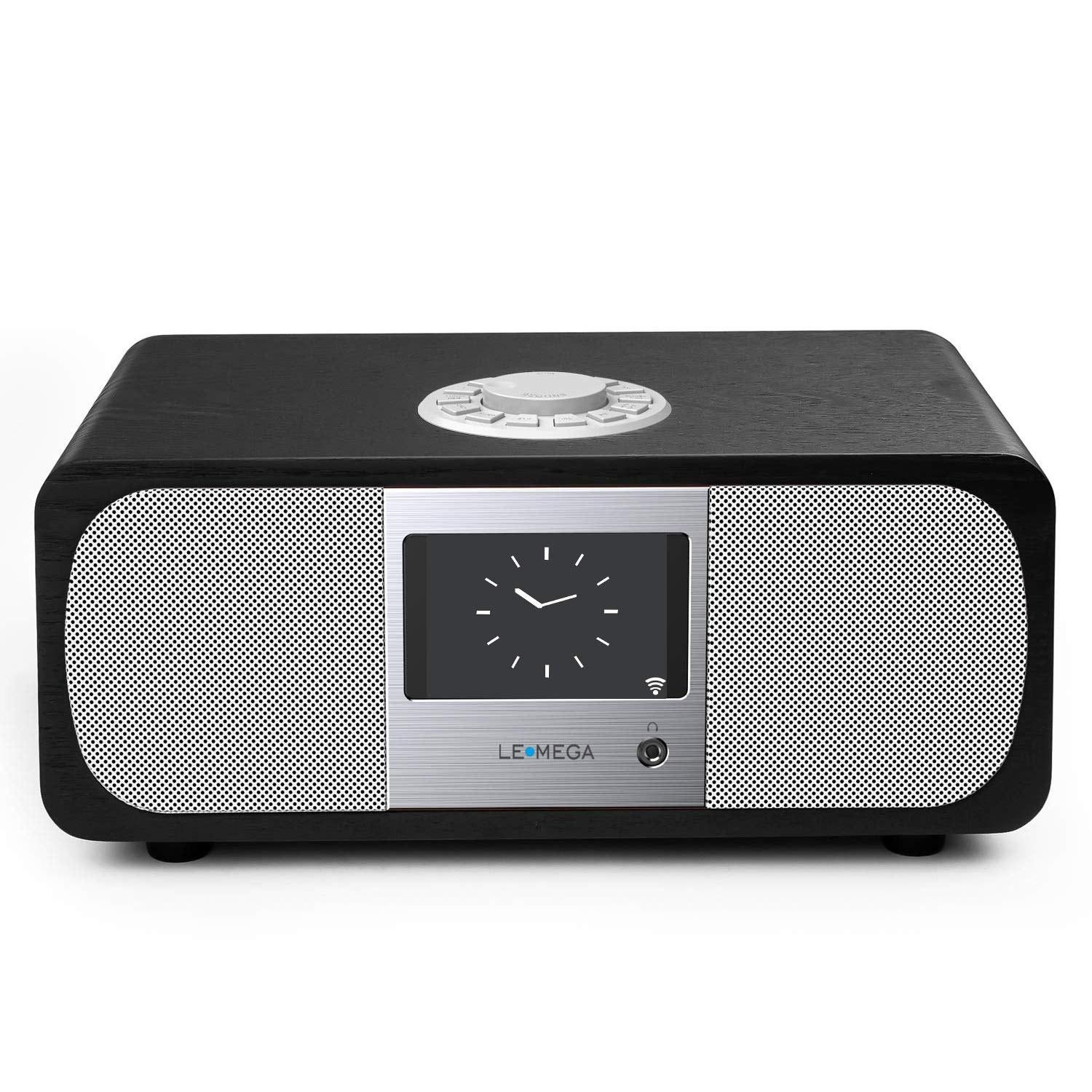 LEMEGA M3+ Smart Music System (2.1 Stereo) with Wi-Fi, Internet Radio, Spotify, Bluetooth, DLNA, FM Radio, Clock, Alarms, Presets, and Wireless App Control. (Black Oak)